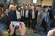 Garden City, New York, USA. November 6, 2018. Nassau County Democrats watch Election Day results at Garden City Hotel, Long Island. Included are ANNA KAPLAN (light jacket, blue dress) who was elected to represent NYS Senate 7th District, and STEVE BELLONE (white hair, yellow tie) the Suffolk County Supervisor, and Senator JOHN BROOKS (white hair, glasses) who was re-elected.