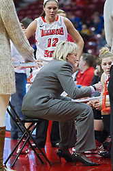 03 January 2014:  Head Coach Barb Smith speaks and draws on a white board in a time out during an NCAA women's basketball game between the Drake Bulldogs and the Illinois Sate Redbirds at Redbird Arena in Normal IL