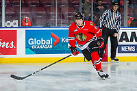 KELOWNA, BC - MARCH 02:  John Ludvig #15 of the Portland Winterhawks warms up on the ice against the Kelowna Rockets  at Prospera Place on March 2, 2019 in Kelowna, Canada. (Photo by Marissa Baecker/Getty Images)