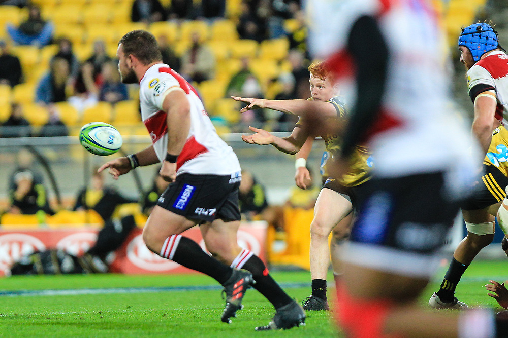 Finlay Christie passes during the Super rugby (Round 12) match played between Hurricanes  v Lions, at Westpac Stadium, Wellington, New Zealand, on 5 May 2018.  Hurricanes won 28-19.
