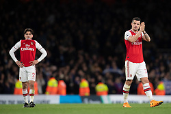 LONDON, ENGLAND - Thursday, December 5, 2019: Arsenal's Granit Xhaka looks dejected during the FA Premier League match between Arsenal FC and Brighton & Hove Albion FC at the Emirates Stadium. Arsenal lost 2-1. (Pic by Vegard Grott/Propaganda)