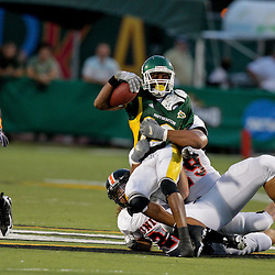 10 September 2009:  Southeastern Louisiana Lions cornerback Robert Alford (13) is tackled by Union College defenders during a game between Southeastern Louisiana University Lions and Union College at Strawberry Stadium in Hammond, Louisiana.
