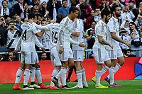 Real Madrid´s players celebrate a goal during 2014-15 La Liga match between Real Madrid and Eibar at Santiago Bernabeu stadium in Madrid, Spain. April 11, 2015. (ALTERPHOTOS/Luis Fernandez)