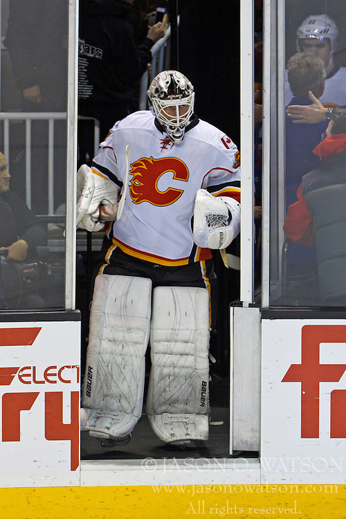 Jan 17, 2012; San Jose, CA, USA; Calgary Flames goalie Miikka Kiprusoff (34) enters the ice before the game against the San Jose Sharks at HP Pavilion. San Jose defeated Calgary 2-1 in shootouts. Mandatory Credit: Jason O. Watson-US PRESSWIRE