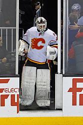 Jan 17, 2012; San Jose, CA, USA; Calgary Flames goalie Miikka Kiprusoff (34) enters the ice before the game against the San Jose Sharks at HP Pavilion. San Jose defeated Calgary 2-1 in shootouts. Mandatory Credit: Jason O. Watson-US PRESSWIRE