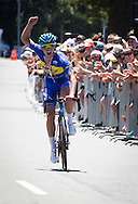 Jason Christie hits the line to win the Mens elite road race, Big Save Elite Road National Championships,  Napier, Hawkes Bay, New Zealand, 10 January 2016. Photo by John Cowpland / alphapix