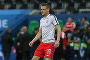 England Forward Jamie Vardy in warm up during the Euro 2016 Group B match between Slovakia and England at Stade Geoffroy Guichard, Saint-Etienne, France on 20 June 2016. Photo by Phil Duncan.