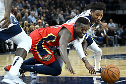 November 14, 2018 - Minneapolis, MN, USA - The Minnesota Timberwolves' Robert Covington, right, and the New Orleans Pelicans' Julius Randle battle for a loose ball in the third quarter on Wednesday, Nov. 14, 2018, at Target Center in Minneapolis. The Timberwolves won, 107-100. (Credit Image: © Aaron Lavinsky/Minneapolis Star Tribune/TNS via ZUMA Wire)