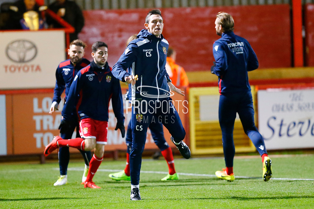Stevenage players warm up during the EFL Sky Bet League 2 match between Stevenage and Coventry City at the Lamex Stadium, Stevenage, England on 21 November 2017. Photo by Matt Bristow.