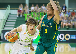 Jaka Klobucar of Slovenia vs Brad Newley of Australia during friendly basketball match between National teams of Slovenia and Australia, on August 3, 2015 in Arena Tri lilije, Lasko, Slovenia. Photo by Vid Ponikvar / Sportida