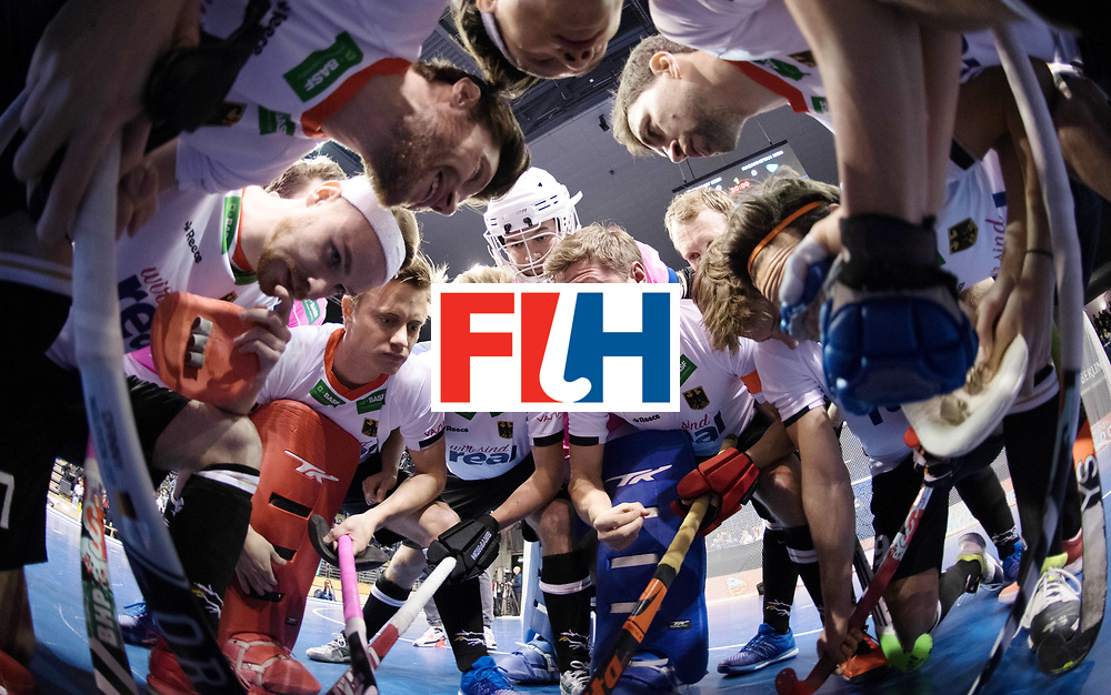 BERLIN - Indoor Hockey World Cup<br /> Men: Germany - Kazachstan<br /> foto: German huddle with Martin H&auml;ner.<br /> WORLDSPORTPICS COPYRIGHT FRANK UIJLENBROEK