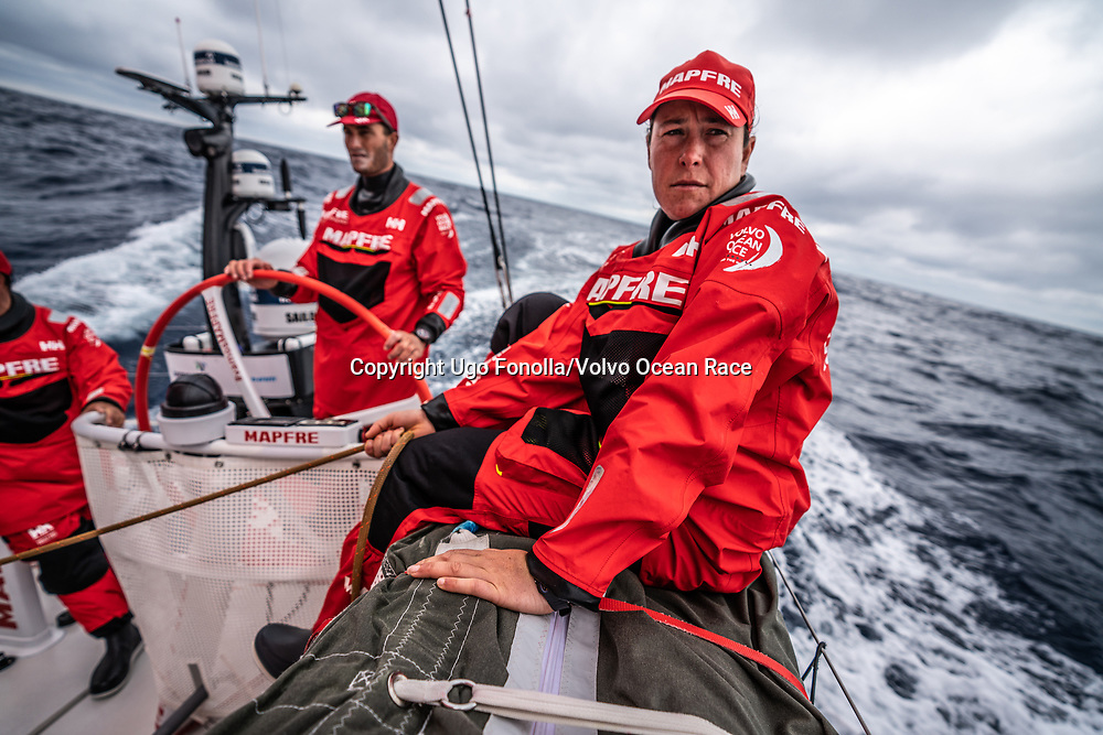 Leg 9, from Newport to Cardiff, day 02 on board MAPFRE, Tamara Echegoyen with the main sheet, Blair Tuke at the helm. 21 May, 2018.