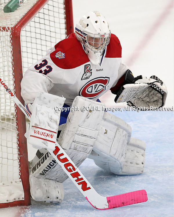 MILTON, ON - Oct 23, 2015 : Ontario Junior Hockey League game action between Kingston and Milton. David Richer #31 of the Kingston Voyageurs during the third period.<br /> (Photo by Tim Bates / OJHL Images)