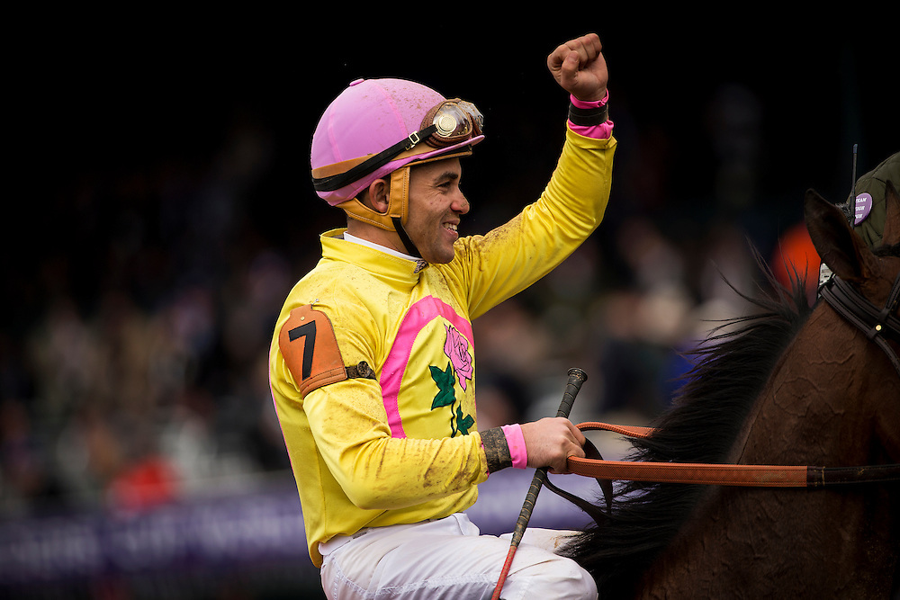 October 31, 2015:  Joel Rosario celebrates at The Breeders' Cup at Keeneland Race Track in Lexington, Kentucky. Evers/ESW/CSM