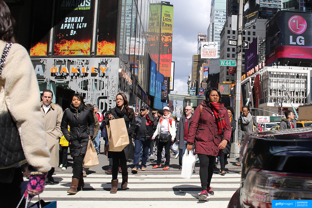 A street scene in Broadway, Manhattan, New York, USA. 26th March 2013. Photo Tim Clayton