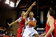 November 27, 2008: Louisiana Tech guard Yonas Berhe (10) tries to glide past Seattle University's Mike Boxley (00) in the opening round of the 2008 Great Alaska Shootout at the Sullivan Arena.