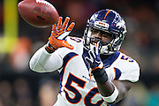 NEW ORLEANS, LA - NOVEMBER 13:  Zaire Anderson #50 of the Denver Broncos warming up before a game against the New Orleans Saints at Mercedes-Benz Superdome on November 13, 2016 in New Orleans, Louisiana.  The Broncos defeated the Saints 25-23.  (Photo by Wesley Hitt/Getty Images) *** Local Caption *** Zaire Anderson