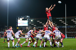 Ed Slater of Gloucester Rugby wins the ball at a line out - Mandatory by-line: Robbie Stephenson/JMP - 16/11/2018 - RUGBY - Kingsholm - Gloucester, England - Gloucester Rugby v Leicester Tigers - Gallagher Premiership Rugby