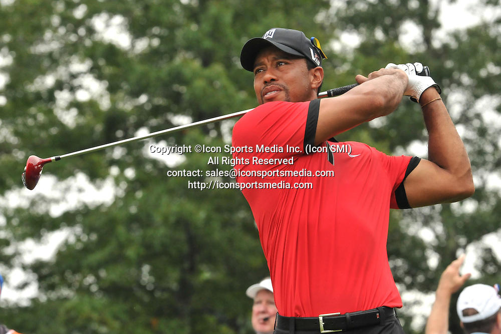 02 September 2013:Tiger Woods hits a nice drive on the 10th hole tee box during the Final Round of the Deutsche Bank Championship at TPC Boston in Norton, MA***Editorial Use Only*****
