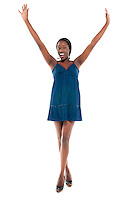 Young african american girl very happy arms up and smiling,