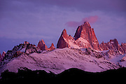 Sunrise light on Mt. Fitzroy in the Southern Andes, Patagonia, Argentina, South America