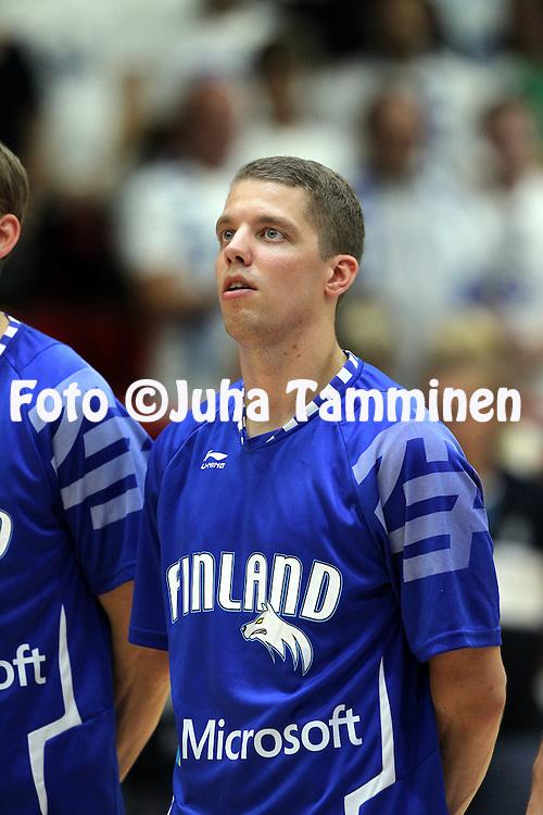 4.8.2014, J&auml;&auml;halli, Helsinki, Finland.<br /> Koripallomaaottelu Suomi - Liettua / Basketball Friendly International match, Finland v Lithuania.<br /> Roope Ahonen - Finland