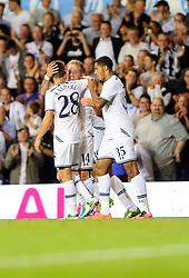 Tottenham Hotspur's Lewis Holtby celebrates with his team mates after scoring.  - Photo mandatory by-line: Dougie Allward/JMP - Tel: Mobile: 07966 386802 27/08/2013 - SPORT - FOOTBALL - White Hart Lane - London - Tottenham Hotspur V Dinamo Tbilisi -  UEFA EUROPA LEAGUE - PLAY-OFF - SECOND LEG