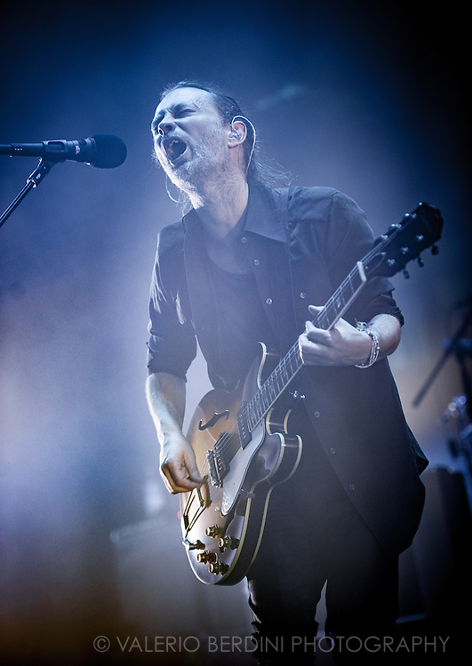 Thom Yorke with Radiohead playing live at the roundhouse in London on 27 May 2016 touring the latest album A Moon Shaped Pool