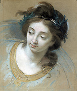 Head of a Woman' 1780.  Study in charcoal and coloured chalk on blue paper for Peace Reaping Abundance. Elisabeth Vigee-Lebrun (1755-1842) French painter.