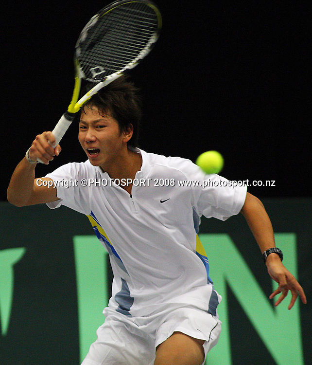 Yan Bai plays a forehand return against Daniel King-Turner.<br /> Davis Cup Tennis singles, final day - New Zealand v China at TSB Stadium, New Plymouth, New Zealand. Sunday, 21 September 2008. Photo: Dave Lintott/PHOTOSPORT