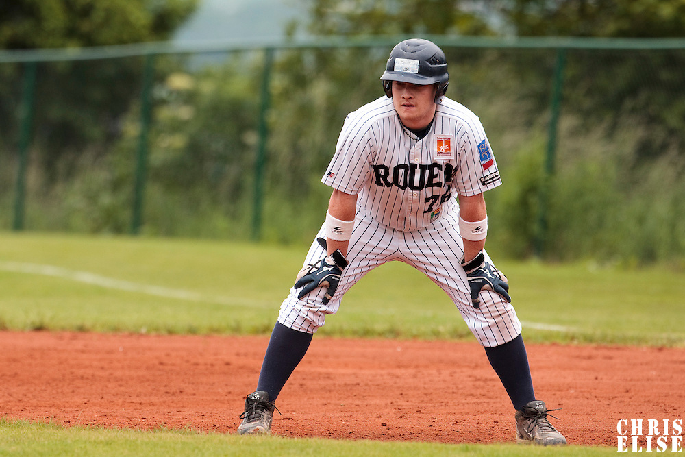 03 June 2010: David Gauthier of Rouen is seen during the 2010 Baseball European Cup match won  8-4 by C.B. Sant Boi over the Rouen Huskies, at the Kravi Hora ballpark, in Brno, Czech Republic.