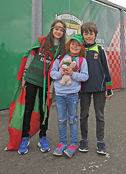 Sophia Amelie and Cian Clarke from Keelogues on their way to McHale Park.