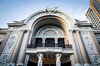 The facade of the Opera House in downtown Ho Chi Minh City, Vietnam.