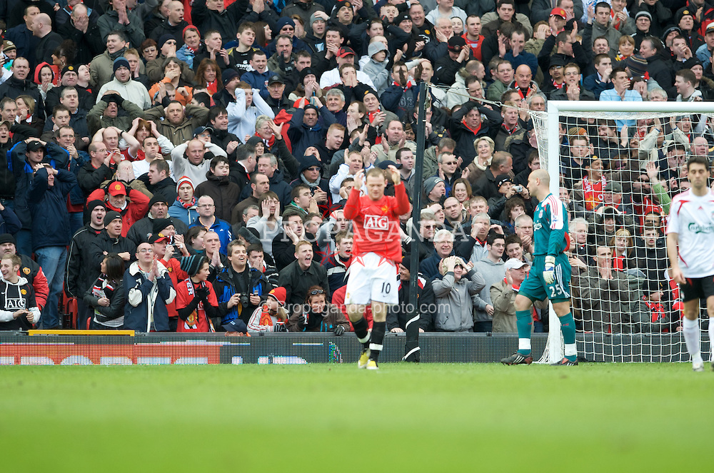MANCHESTER, ENGLAND - Sunday, March 23, 2008: Manchester United's fans look dejected as Wayne Rooney misses another easy chance to score during the Premiership match against Liverpool at Old Trafford. (Photo by David Rawcliffe/Propaganda)