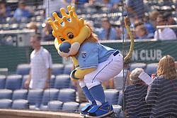 Sep 20, 2014; Kansas City, MO, USA; Kansas City Royals mascot Sluggerrr entertains fans before the game against the Detroit Tigers at Kauffman Stadium. Detroit won 3-2. Mandatory Credit: Denny Medley-USA TODAY Sports