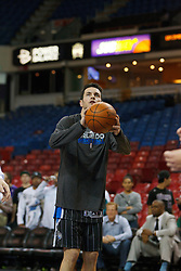 Jan 8, 2012; Sacramento, CA, USA; Orlando Magic shooting guard J.J. Redick (7) warms up before the game against the Sacramento Kings at Power Balance Pavilion. Orlando defeated Sacramento 104-97. Mandatory Credit: Jason O. Watson-US PRESSWIRE