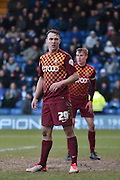 Bradford City Defender, Anthony McMahon ready for a corner during the Sky Bet League 1 match between Bury and Bradford City at the JD Stadium, Bury, England on 5 March 2016. Photo by Mark Pollitt.