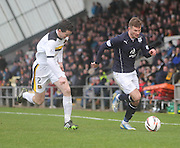 Willie Dyer goes past Paul McGinn - Dumbarton v Dundee  - SPFL Championship at the Bet Butler Stadium<br /> <br />  - &copy; David Young - www.davidyoungphoto.co.uk - email: davidyoungphoto@gmail.com