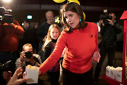 © Licensed to London News Pictures. 09/11/2019. London, UK. Leader of the Liberal Democrats Jo Swinson hands out popcorn at her party's Rally for the Future at Battersea Arts Centre .  Photo credit: George Cracknell Wright/LNP