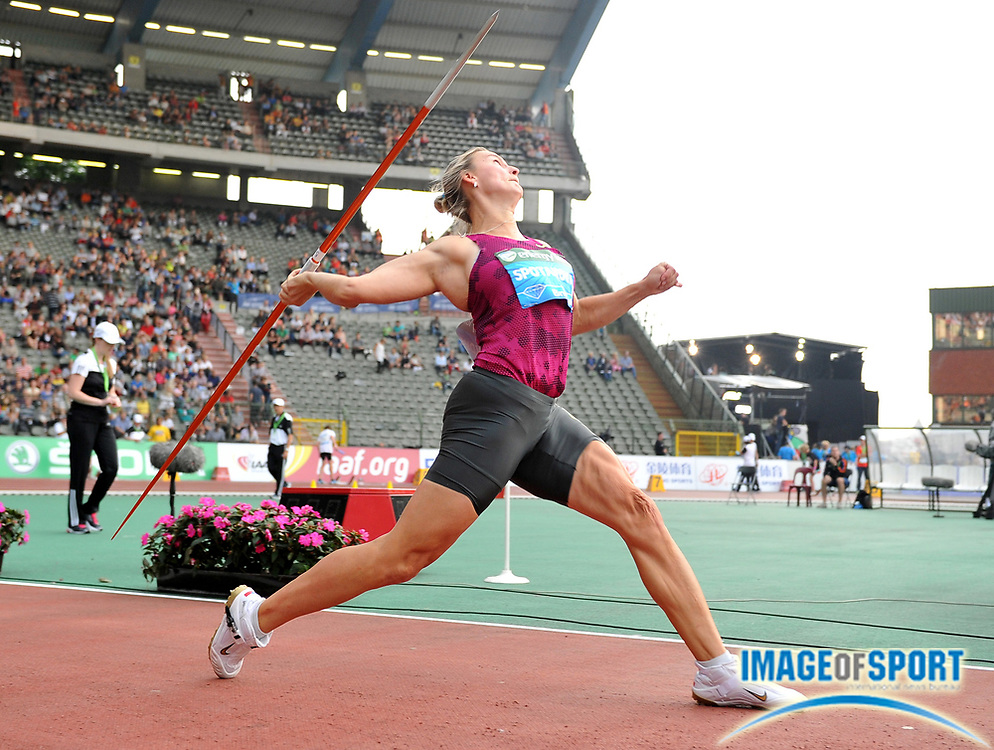Sep 5, 2014; Brussels, BELGIUM; Barbora Spotáková (CZE) wins the womens javelin with a throw of 223-0 (67.99m) in the 39th Memorial Van Damme at King Baudouin Stadium. Photo by Jiro Mochizuki