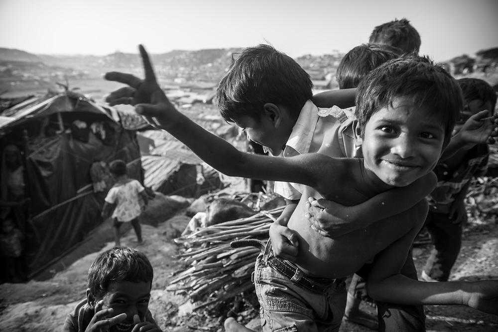Kids play at Jamtoli refugee camp, Bangladesh (October 26, 2017)