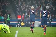 Kylian Mbappe (PSG) scored a goal against Remy VERCOUTRE (SM Caen) and celebrated it, Edinson Roberto Paulo Cavani Gomez (psg) (El Matador) (El Botija) (Florestan) during the French Championship Ligue 1 football match between Paris Saint-Germain and SM Caen on December 20, 2017 at Parc des Princes stadium in Paris, France - Photo Stephane Allaman / ProSportsImages / DPPI