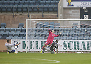 Peterhead's Rory McAlister misses a sitter at the start of the second half - Dundee v Peterhead, League Cup at Dens Park<br /> <br />  - &copy; David Young - www.davidyoungphoto.co.uk - email: davidyoungphoto@gmail.com