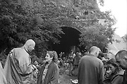 Ravers chilling by derelict tunnel, Ashton Court Festival, Bristol, UK, 1995.