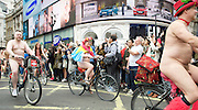 World Naked Bike Ride London 2015 <br /> A protest against oil dependency &amp; how cars dominate contemporary life, also a celebration of individuality of the human body. <br /> 13th June 2015 <br /> Piccadilly Circus, London, Great Britain. <br /> <br /> <br /> Photograph by Elliott Franks <br /> Image licensed to Elliott Franks Photography Services
