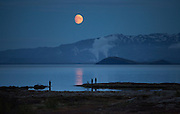 Fishing under a blue moon. Lake Þingvallavatn, Þingvellir national park, south west Iceland