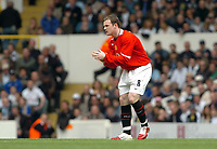 Photo: Leigh Quinnell.<br /> Tottenham Hotspur v Manchester United. The Barclays Premiership. 17/04/2006. Man Utds'  Wayne Rooney rubs his hands together after scoring.