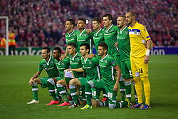 LIVERPOOL, ENGLAND - Tuesday, September 16, 2014: PFC Ludogorets Razgrad players line up for a team group photograph before the UEFA Champions League Group B match against Liverpool at Anfield. Back row L-R: Marcelinho, Anicet Abel, Roman Bezjak, Aleksandar Aleksandrov, Cosmin Moti, goalkeeper Milan Borjan. Front row L-R: Yordan Minev, Virgil Misidjan, Mihail Aleksandrov, Svetoslav Dyakov, Junior Caicara. (Pic by David Rawcliffe/Propaganda)