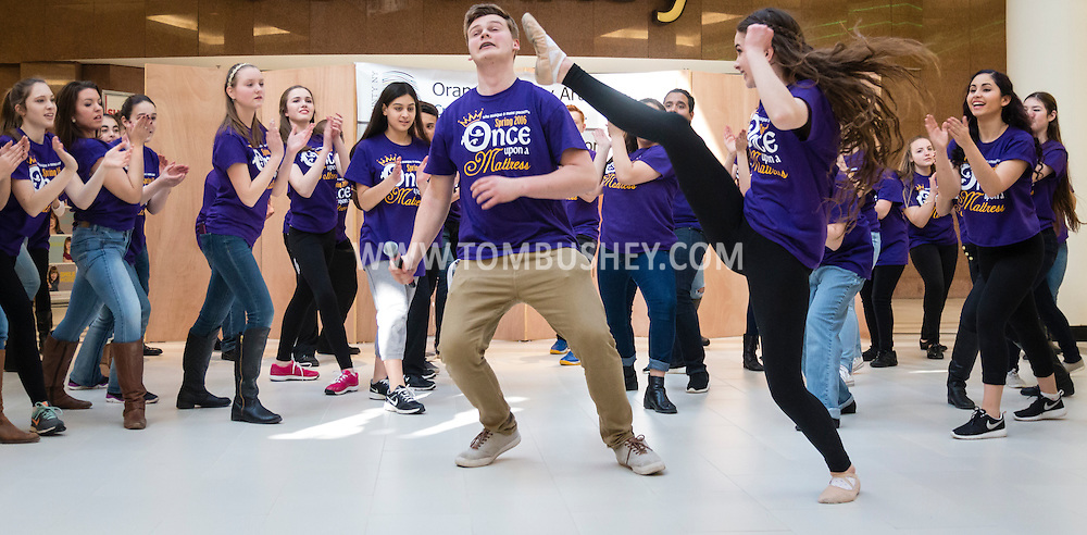 "Town of Wallkill, New York -   Washingtonville High School students perform a scene from ""Once Upon A Mattress"" during the Orange County Arts Council's All-County High School Musical Showcase and Arts Display at the Galleria at Crystal Run on Feb. 27, 2016."