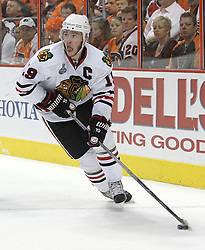 June 9, 2010; Philiadelphia, PA; USA;  Chicago Blackhawks center Jonathan Toews (19) skates with the puck during the second period of Game 6 of the Stanley Cup Finals at the Wachovia Center.